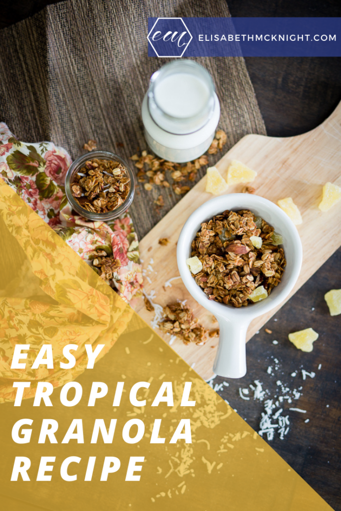 This homemade tropical granola is perfect for eating in a bowl with milk or snacking on the go! #homemadegranola #easybreakfast #simplydelicious
